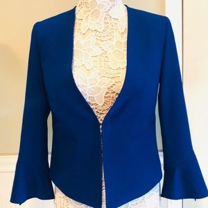 Tahari Cobalt Blue Blazer with Flutter Sleeves